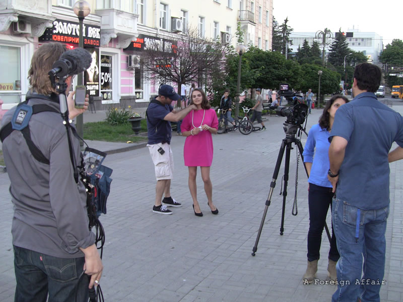 Ukraine girl explaining how they cast for a Reality TV show