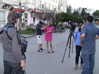Ukraine girl explaining how they for a Realty TV show